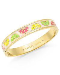 kate spade new york | Metallic Sweet Deal Gold-tone Enamel Bangle Bracelet | Lyst