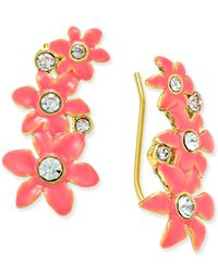 kate spade new york - Metallic Lovely Lillies Gold-tone Enamel Floral Ear Crawlers - Lyst