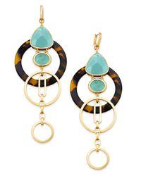 Kate Spade | Metallic Sun-kissed Sparkle Gold-tone Triple-drop Geometric Earrings | Lyst