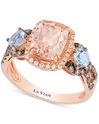 Le Vian | Pink Chocolatier Peach Morganite (1-1/2 Ct. T.w.), Aquamarine (1/2 Ct. T.w.) And Diamond (1/3 Ct. T.w.) Ring In 14k Rose Gold | Lyst