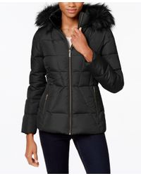 Calvin Klein | Gray Petite Faux-fur-lined Quilted Puffer Coat | Lyst