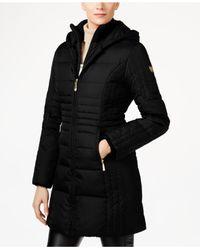 Vince Camuto   Black Faux-fur-trim Layered Down Coat   Lyst