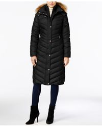 Marc New York | Black Hooded Faux-fur-trim Long Down Puffer Coat | Lyst
