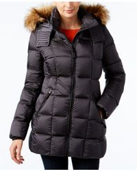 Marc New York | Black Faux-fur-trim Quilted Down Coat | Lyst