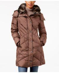 London Fog | Brown Faux-fur-trim Hooded Down Puffer Coat | Lyst