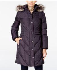 London Fog | Purple Petite Faux-fur-trim Long Down Coat | Lyst