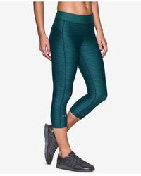 Under Armour | Blue Heatgear Printed Cropped Leggings | Lyst