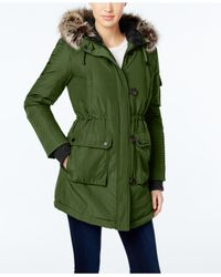 BCBGeneration | Green Faux-fur-trim Hooded Puffer Parka | Lyst