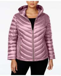 Calvin Klein | Pink Plus Size Packable Down Hooded Puffer Coat, Only At Macy's | Lyst