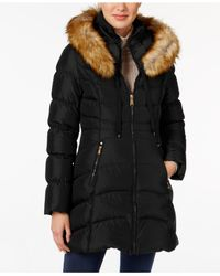 Laundry by Shelli Segal | Black Faux-fur-trim Down Puffer Coat | Lyst