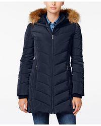 Tommy Hilfiger | Blue Faux-fur-trim Hooded Puffer Coat | Lyst