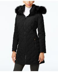 Calvin Klein | Black Faux-fur-trim Quilted Water Resistant Down Coat | Lyst