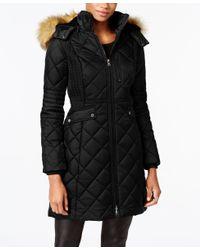 Jones New York | Black Faux-fur-trim Knit-side Quilted Coat | Lyst