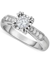 Macy's | Multicolor Diamond Vintage-inspired Milgrain Engagement Ring (5/8 Ct. T.w.) In 14k White Gold | Lyst