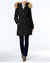 Jones New York | Black Faux-fur-trim Hooded Puffer Coat | Lyst