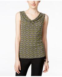 Tahari | Green Sleeveless Printed Drape-neck Top | Lyst