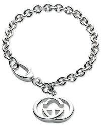 Gucci | Metallic Women's Sterling Silver Interlocked Gg Motif Charm Bracelet Yba190501001 | Lyst