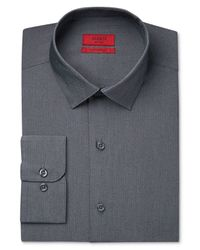 Alfani Men's Fitted Performance Dark Gray White Micro-stripe Dress Shirt for men
