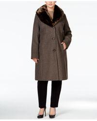 Jones New York | Brown Plus Size Faux-fur Collar Walker Coat | Lyst