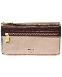 Fossil | Red Preston Leather Flap Clutch Wallet | Lyst