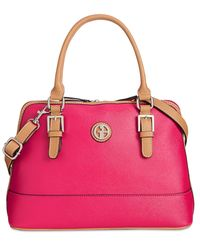 Giani Bernini | Pink Saffiano Medium Dome Satchel, Only At Macy's | Lyst