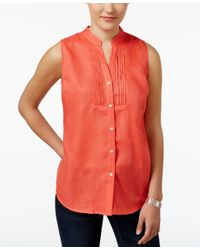 Charter Club Red Sleeveless Linen Shirt, Only At Macy's