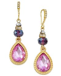 INC International Concepts | Metallic Gold-tone Mauve Crystal Teardrop Drop Earrings, Only Macy's | Lyst