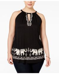 INC International Concepts - Black Plus Size Lace-embellished Tank Top - Lyst
