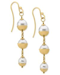 Majorica | Metallic 18k Vermeil Imitation Pearl Triple Drop Earrings | Lyst