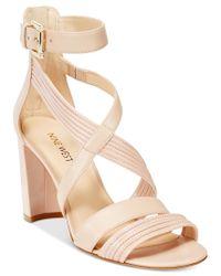 Nine West - Natural Norita Block-heel Sandals - Lyst