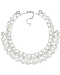 Carolee | Metallic Silver-tone Pave Double Layer Crystal Collar Necklace | Lyst