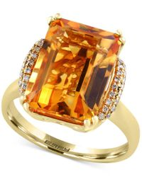 Effy Collection | Multicolor Sunset By Effy Citrine (7-1/5 Ct. T.w.) And Diamond (1/8 Ct. T.w.) Statement Ring In 14k Gold | Lyst