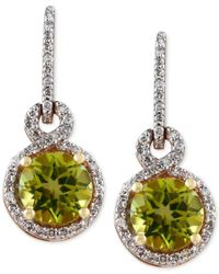 Effy Collection | Metallic Olivia By Effy Peridot (1-5/8 Ct. T.w.) And Diamond (1/4 Ct. T.w.) Drop Earrings In 14k Gold | Lyst