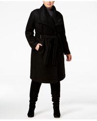 Ivanka Trump   Black Plus Size Asymmetrical Walker Coat With Brooch   Lyst