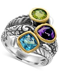 Effy Collection   Metallic Effy Multi-gemstone (3-1/4 Ct. Tw.) Statement Ring In Sterling Silver And 18k Gold   Lyst