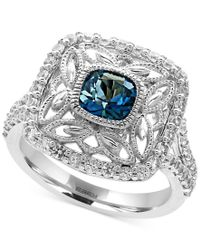 Effy Collection | Metallic Effy London Blue Topaz (1-1/4 Ct. T.w.) And White Sapphire (3/4 Ct. T.w.) Statement Ring In Sterling Silver | Lyst