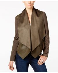 Kut From The Kloth | Green Faux-leather-trim Draped Jacket | Lyst