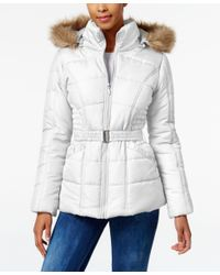 Rampage | White Faux-fur-trim Belted Puffer Coat | Lyst