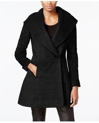Trina Turk | Black Wool-blend Skirted Wrap Coat | Lyst