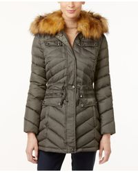 Laundry by Shelli Segal | Green Faux-fur-trim Hooded Down Puffer Coat | Lyst
