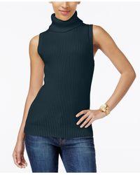 Michael Kors   Blue Sleeveless Ribbed Turtleneck Sweater   Lyst