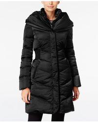 T Tahari | Black Pillow-collar Hooded Puffer Coat | Lyst