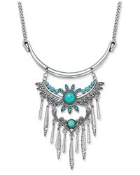 Macy's - Blue Silver-tone Turquoise-look Feather Fringe Collar Necklace - Lyst