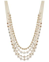 INC International Concepts - Metallic Gold-tone Multi-row Beaded Necklace, Only At Macy's - Lyst
