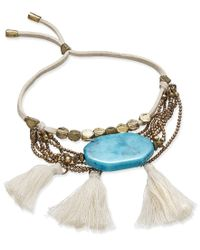Macy's | Blue Gold-tone White Corded And Tassel Turquoise-look Stone Multi-chain Bracelet | Lyst