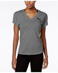 PUMA | Gray Elevated Drycell V-neck T-shirt | Lyst
