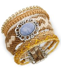 Macy's | Brown Silver-tone Braided Cord Blue Stone Magnetic Clasp Bracelet | Lyst