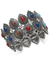 Macy's | Multicolor Silver-tone Filigree Stretch Bracelet | Lyst