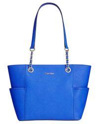 Calvin Klein | Blue Key Item Saffiano Leather Tote | Lyst