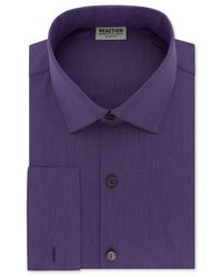 Kenneth Cole Reaction | Purple Men's Slim-fit Techni-cole Stretch Performance French-cuff Dress Shirt for Men | Lyst